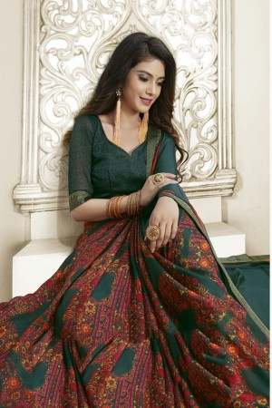 Teal Moss Chiffon Saree with Blouse
