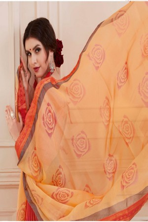 Luscious Pink Silky Silver Print With Lace Border Saree
