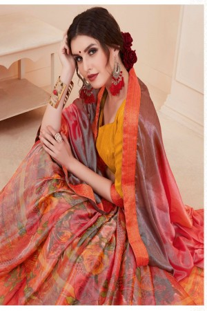Ethnic Pink Silky Silver Print With Lace Border Saree