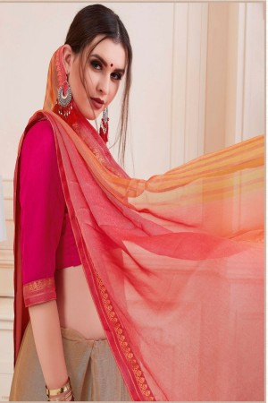 Engrossing Peach Silky Silver Print With Lace Border Saree