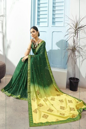 Green Pure Chiffon Saree with Blouse