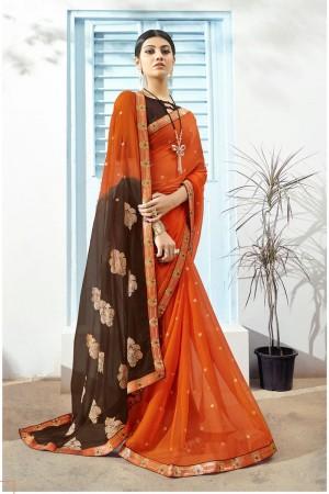 Orange Pure Chiffon Saree with Blouse