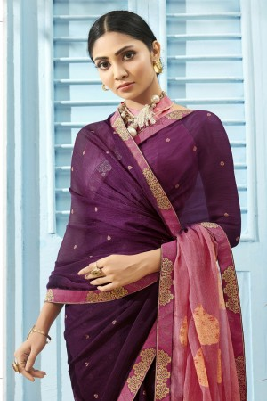 Wine Pure Chiffon Saree with Blouse