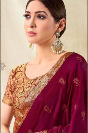 Maroon Vichitra Silk Saree with Blouse