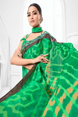 Light Green Chiffon Brasso Saree with Blouse