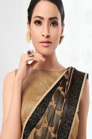 Beige & Black Chiffon Brasso Saree with Blouse