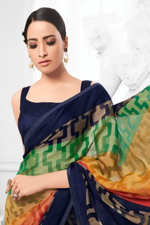 Multicolor Chiffon Brasso Saree with Blouse