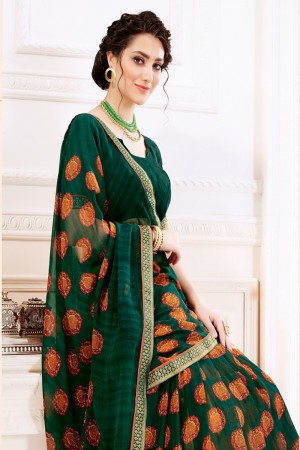 Teal Pure Georgette Saree with Blouse