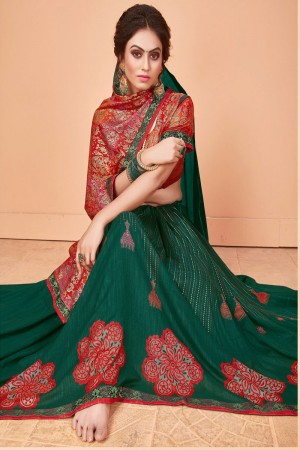 Dark Green Vichitra Silk Saree with Blouse