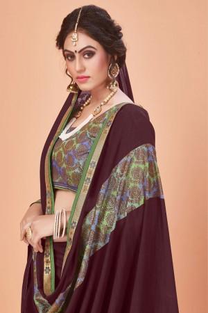 Coffee Vichitra Silk Saree with Blouse