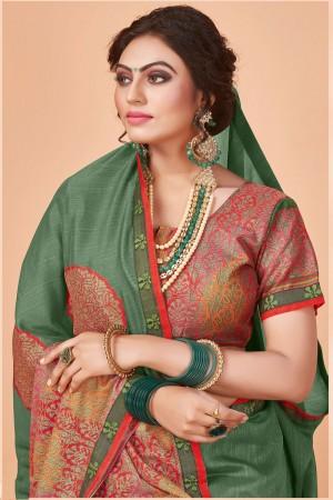 Mehendi Vichitra Silk Saree with Blouse