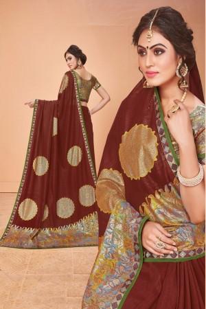 Brick Vichitra Silk Saree with Blouse