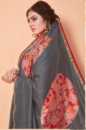 Grey Vichitra Silk Saree with Blouse