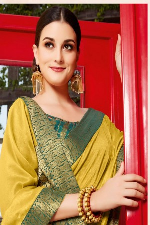 Mustard Vichitra Silk Saree with Blouse