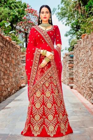 Designer Red Micro Velvet Heavy Embrodiery Work Lehenga Choli