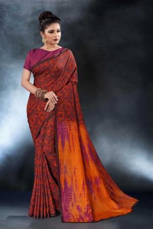 Orange Tusser Silk Saree with Blouse