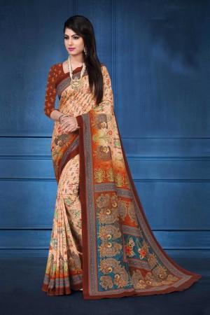 Peach Tusser Silk Saree with Blouse