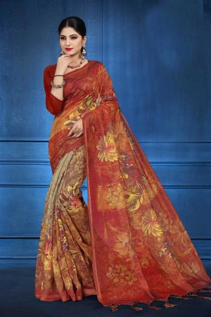 Orange NEPS Fabric Saree with Blouse