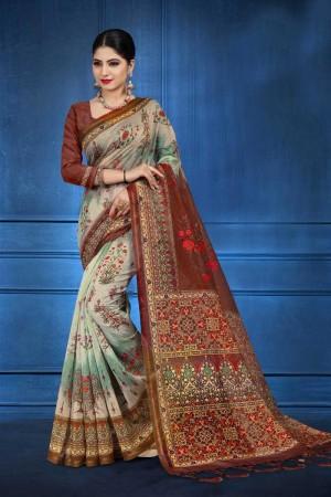 multi NEPS Fabric Saree with Blouse