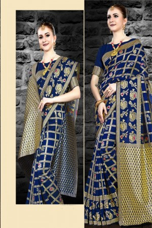 Blue Two Tone Silk Saree with Blouse