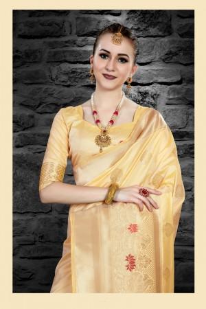 Cream Two Tone Silk Saree with Blouse