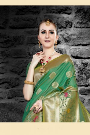 Green Two Tone Silk Saree with Blouse