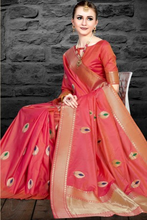 Peach Two Tone Silk Saree with Blouse