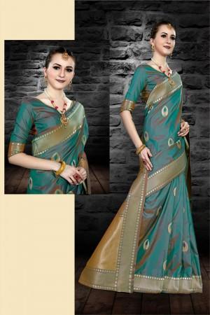 Zeri Green Two Tone Silk Saree with Blouse