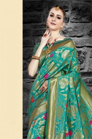 Rama Green Two Tone Silk Saree with Blouse