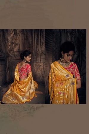 Yellow Dola Saree with Blouse