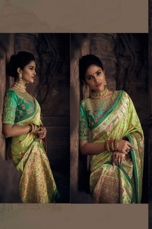 Parrot green dola Saree with Blouse