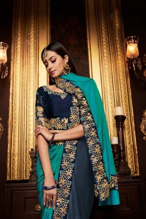 Rama and Navy blue chinon satin Saree with Blouse
