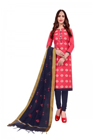 Tometo Red Banarasi Jacquard Dress Material
