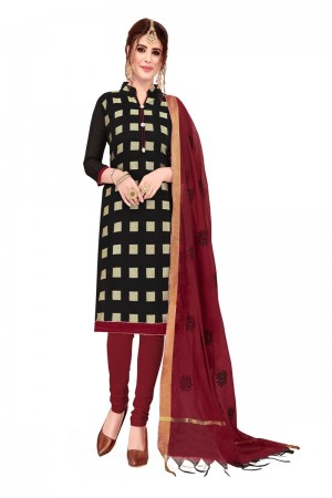 Black Banarasi Jacquard Dress Material
