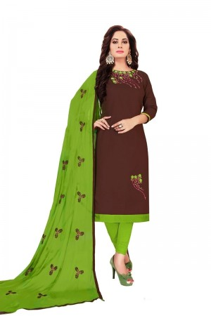 Brown Glass Cotton Dress Material