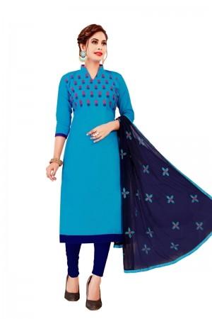 Blue Glass Cotton Dress Material