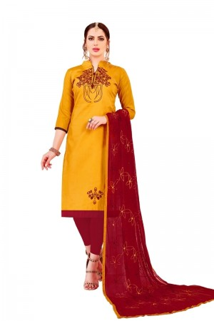 Yellow Glass Cotton Dress Material
