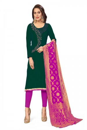 Green Jaam Cotton Dress Material