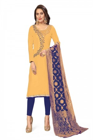 Cream Jaam Cotton Dress Material