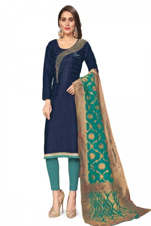 Navy Blue Jaam Cotton Dress Material
