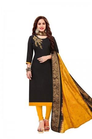 Black Cotton South Slub Dress Material