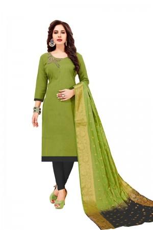 Mahendi Cotton South Slub Dress Material