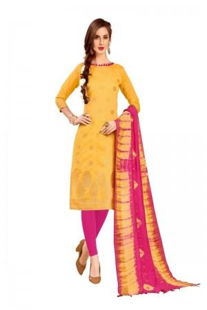 Yellow Banarasi Jacquard Dress Material