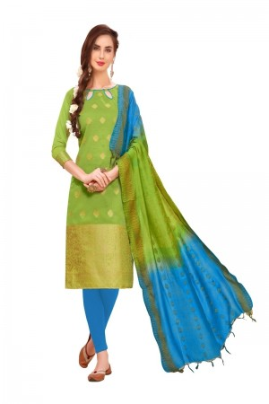 Parrot Green Banarasi Jacquard Dress Material