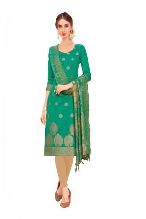 Rama Banarasi Jacquard Dress Material