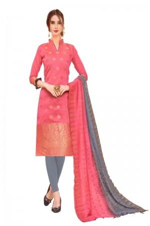 Pink Banarasi Jacquard Dress Material