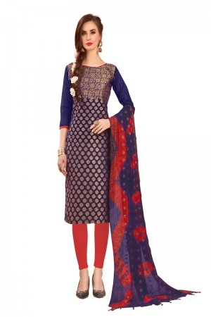 Purple Banarasi Jacquard Dress Material