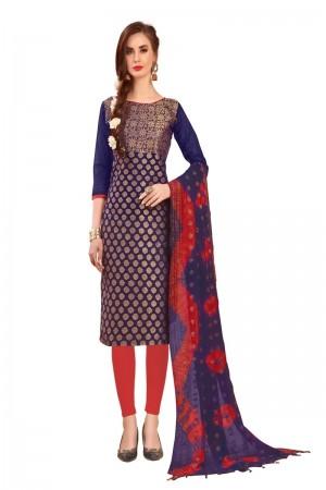 Purple Banarasi Jacquard Dress Material