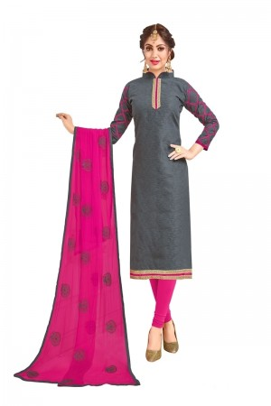 Grey Bombay Jacquard Dress Material