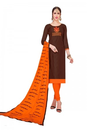 Brown Modal Silk Dress Material